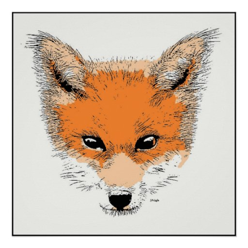 Fox Cartoon Poster Print