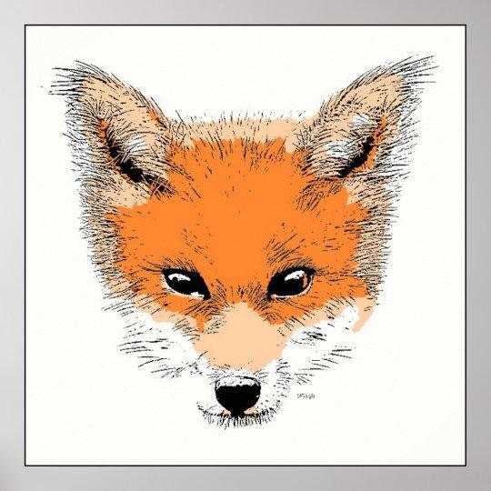 Fox Cartoon Poster Print