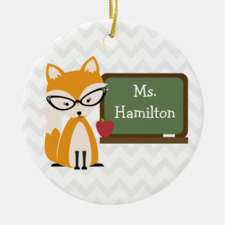 Fox Chevron Teacher At Chalkboard Round Ceramic Decoration