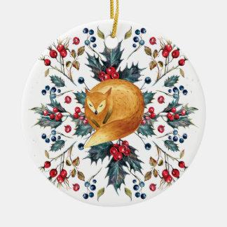 Fox christmas tree ornament holly berries