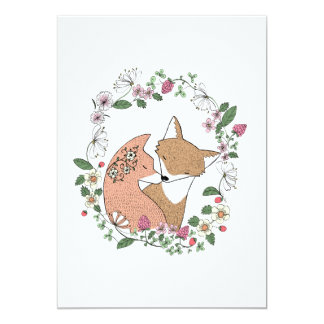 Fox Couple Wedding Invitation Woodland Wedding