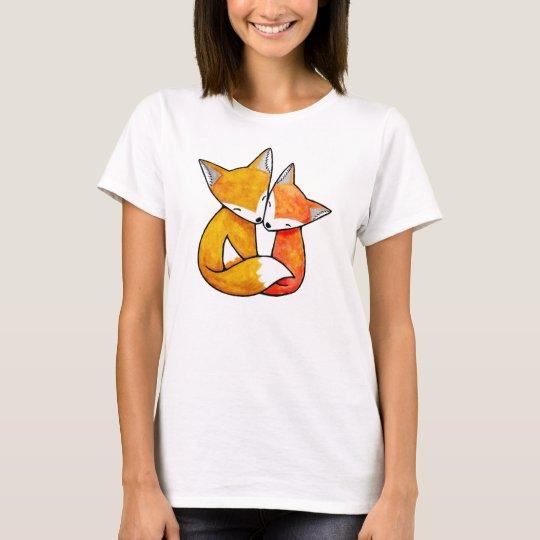Fox Couple Woodland Love Illustration T-shirt