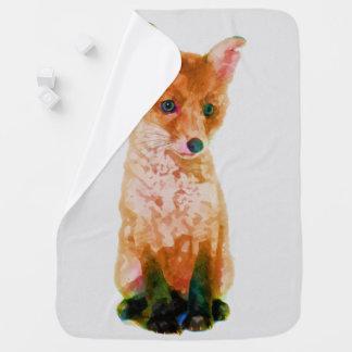 Fox Cub Baby Fox Watercolor Nursery Print Baby Blanket