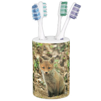fox cub toothbrush holder & soap dispenser