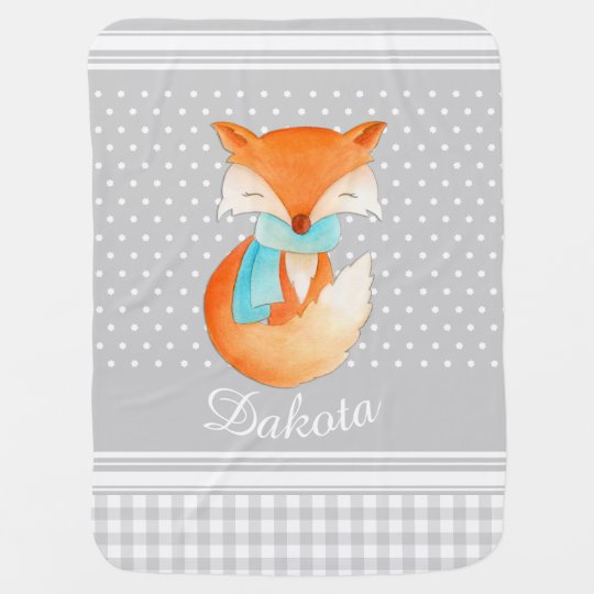Fox cub with scarf art name grey baby