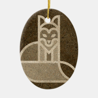 Fox Dog Print Graph Design Brown Ceramic Oval Decoration