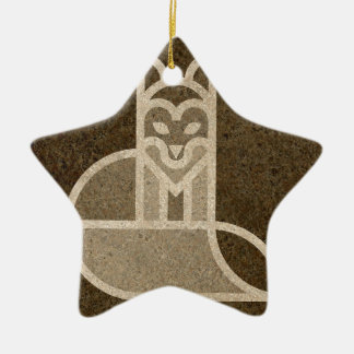 Fox Dog Print Graph Design Brown Christmas Ornament