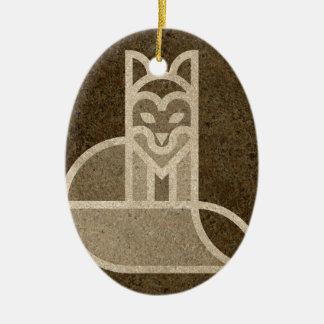 Fox Dog Print Graph Design Brown Christmas Ornament