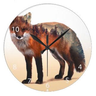 Fox double exposure - fox art - red fox - wildfox large clock