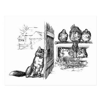 Fox Eavesdropping on Chickens Postcard