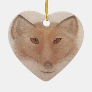 Fox face ceramic heart decoration