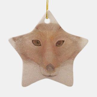 Fox face ceramic star decoration