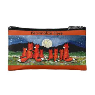 Fox Family at Night, Orange Cosmetic Bag