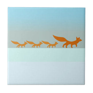 Fox Family in the Snow ceramic tile