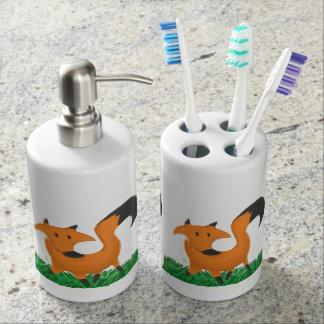 Fox garden soap dispenser and toothbrush holder