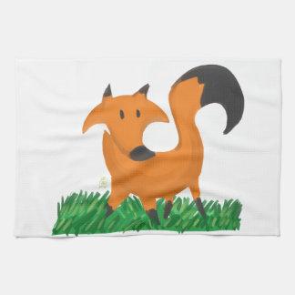 Fox garden tea towel