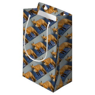 Fox gift wrapping, winter fox small gift bag