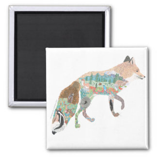 Fox Habitat Square Magnet