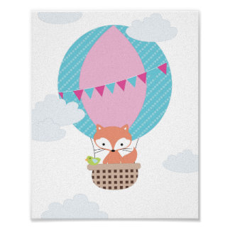 Fox Hot Air Balloon Nursery Art Poster