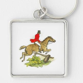 Fox Hunt Jumper Hunter Horse Riding Silver-Colored Square Key Ring