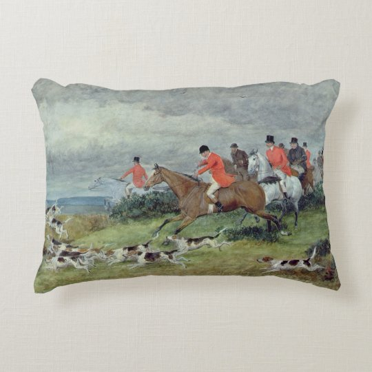 Fox Hunting in Surrey, 19th century Decorative Cushion