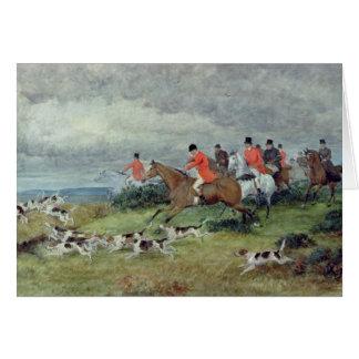 Fox Hunting in Surrey, 19th century Greeting Card