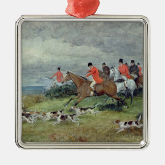 Fox Hunting in Surrey, 19th century Silver-Colored Square Decoration
