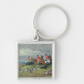 Fox Hunting in Surrey, 19th century Silver-Colored Square Key Ring