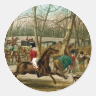 Fox Hunting Round Sticker