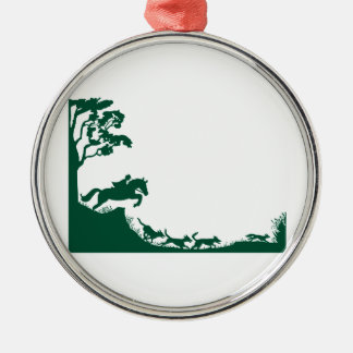 Fox Hunting Silhouette Silver-Colored Round Decoration