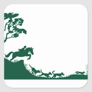 Fox Hunting Silhouette Square Sticker