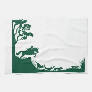 Fox Hunting Silhouette Tea Towel