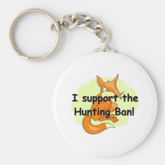 Fox I Support the Hunting Ban Basic Round Button Key Ring