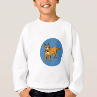 Fox Illustration in Blue Circle Sweatshirt
