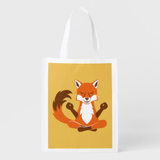 Fox in a yoga pose. reusable grocery bag