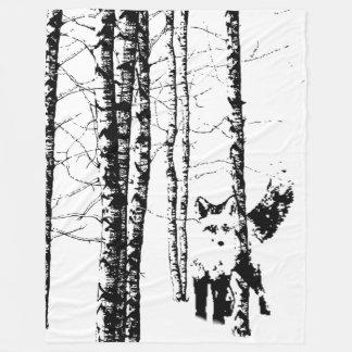 Fox in Birch Tree Forest Black Silhouette Fleece Blanket