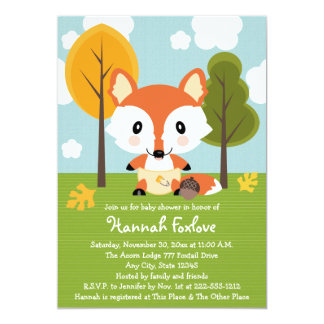 FOX IN DIAPERS BABY SHOWER 13 CM X 18 CM INVITATION CARD