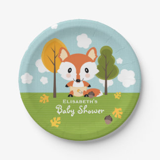 Fox in Diapers Baby Shower 7 Inch Paper Plate