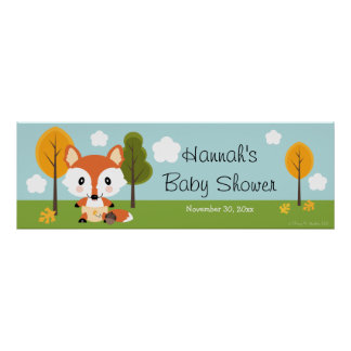 FOX IN DIAPERS BABY SHOWER BANNER POSTER