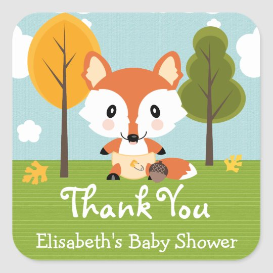 FOX IN DIAPERS BABY SHOWER THANK YOU SQUARE