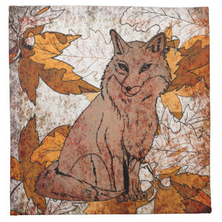 Fox in Fall with Autumn Leaves Napkin