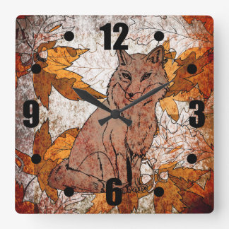 Fox in Fall with Autumn Leaves Square Wall Clock