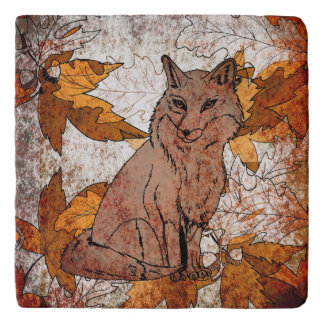 Fox in Fall with Autumn Leaves Trivet