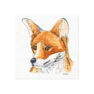 Fox in ink and Water colour Canvas Print