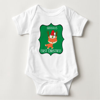 Fox In Reindeer Santa Hat First Christmas Baby Bodysuit