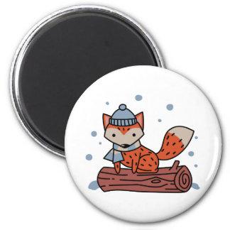 Fox In Snow 6 Cm Round Magnet
