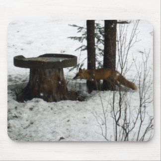 Fox in Snow Falling Mouse Mat
