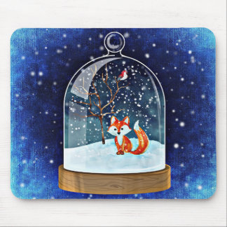Fox in Snow Globe Mousepad