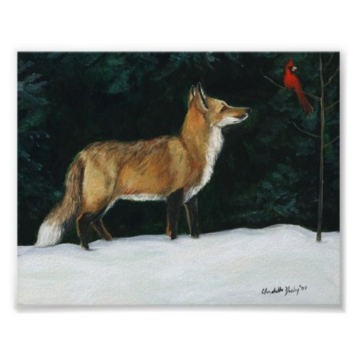 """""""Fox in Snow"""" Wildlife Art Reproduction Poster"""
