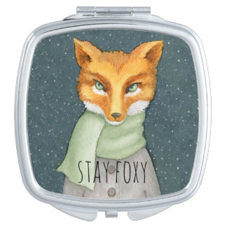 Fox in Snowfall Watercolor Illustration Makeup Mirror